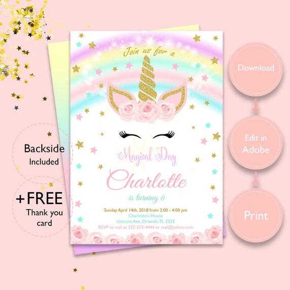 Magical Unicorn Invitation Instant Download Unicorn Etsy