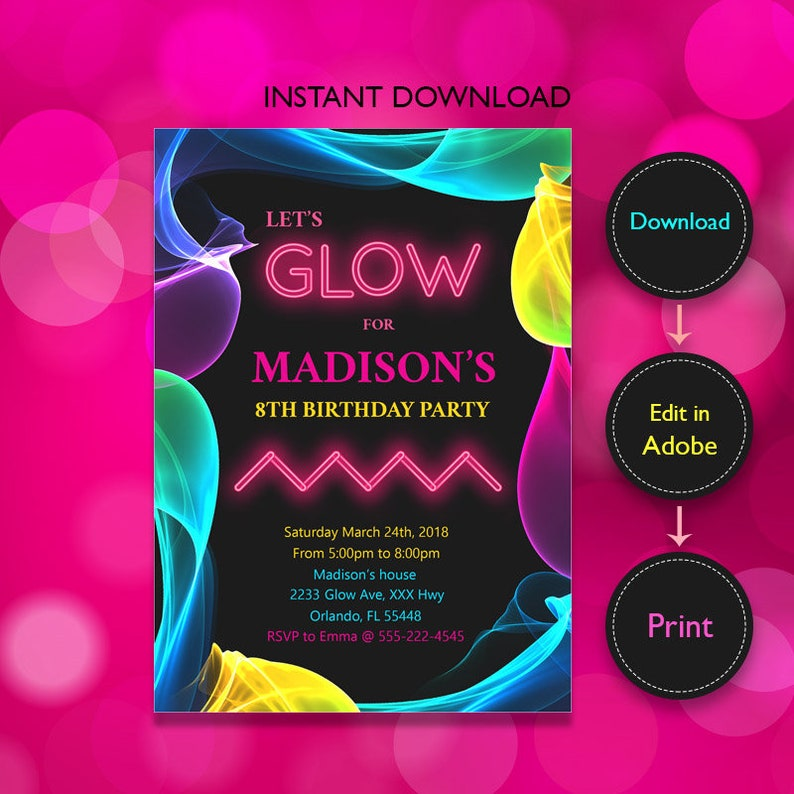 Glow Birthday Invitation Party Neon In The Dark Printable