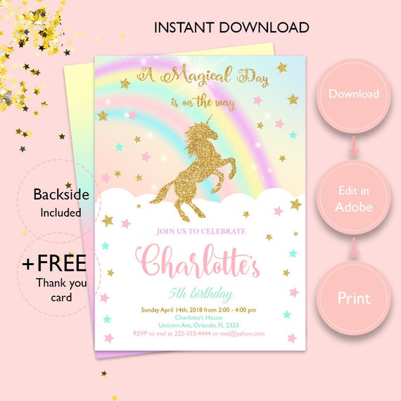 Magical Rainbow Gold Unicorn Invitation Instant Download Etsy