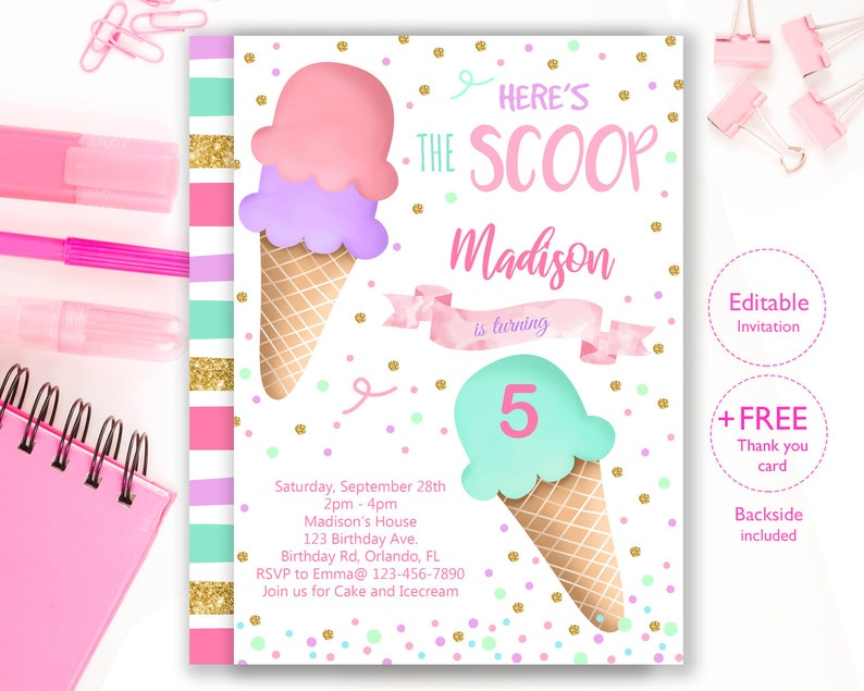 image about Ice Cream Party Invitations Printable Free identified as Ice Product Social gathering Invitation, Editable Ice Product Birthday Invitation, Heres The Scoop Invitation IC103