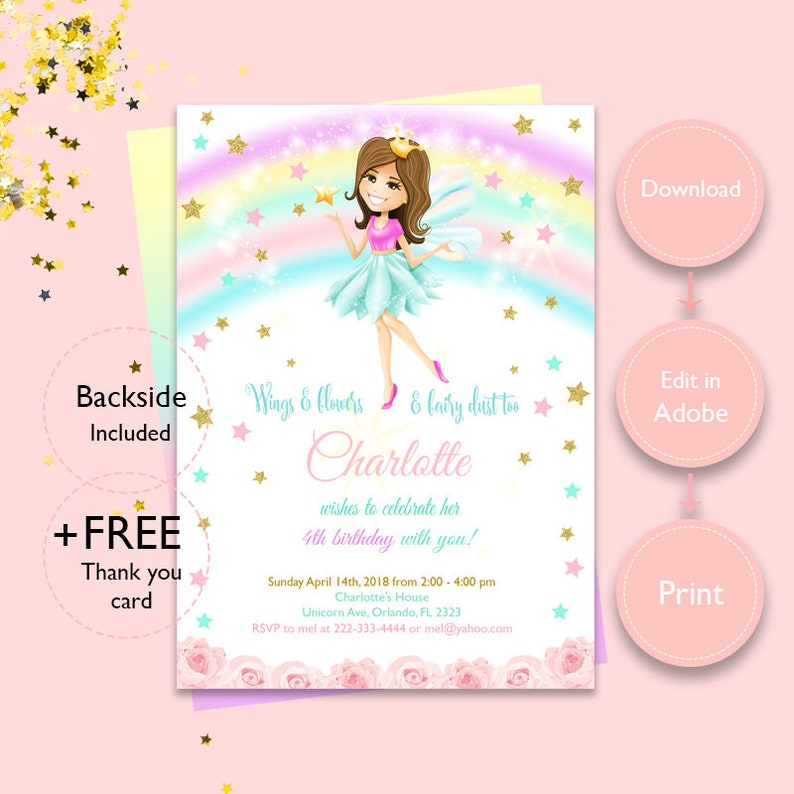 INSTANT DOWNLOAD Fairy Invitation Birthday