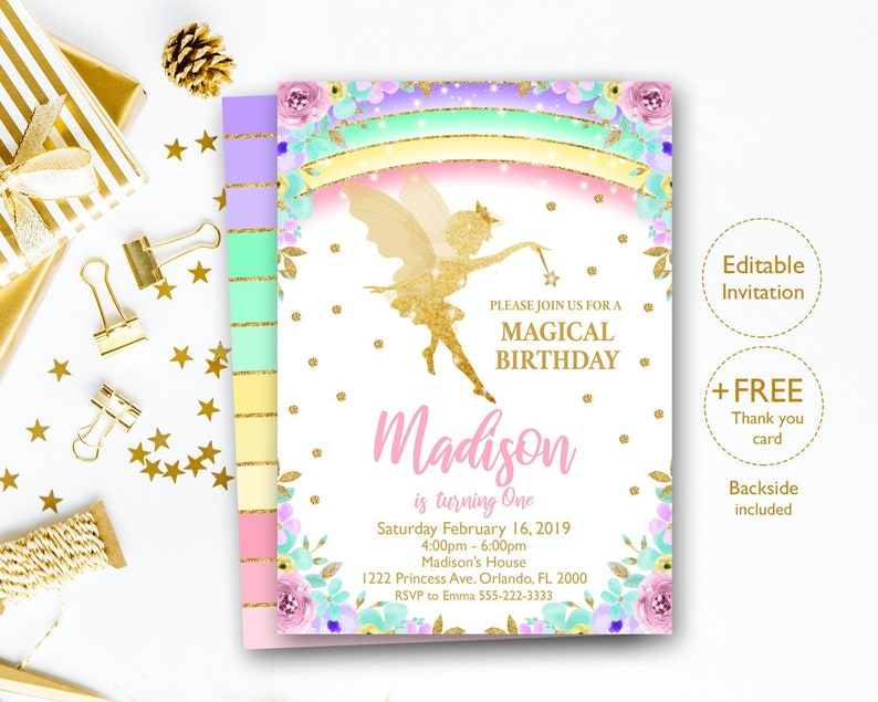 graphic relating to Fairy Birthday Invitations Free Printable titled Editable Fairy Invitation, Fairy Birthday Invitation, Fairy Social gathering Invitation