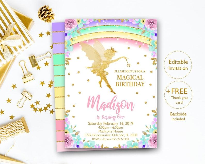 Editable Fairy Invitation Birthday