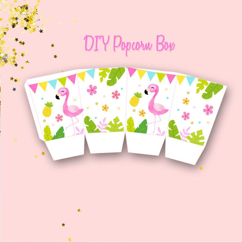 photo about Printable Popcorn Boxes identify Printable Red Flamingo Popcorn Box, Red Flamingo Birthday Do-it-yourself Popcorn Box Electronic Record