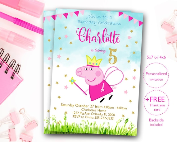 Peppa Pig Birthday Invitation Peppa Pig Invitation Peppa Pig Etsy