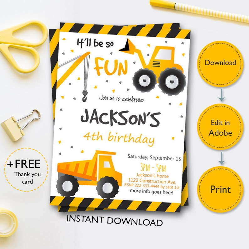 photograph about Free Printable Construction Birthday Invitations called Composition Birthday Invitation, Yellow Composition Invitations, Truck Invitation, Framework Occasion Electronic Record