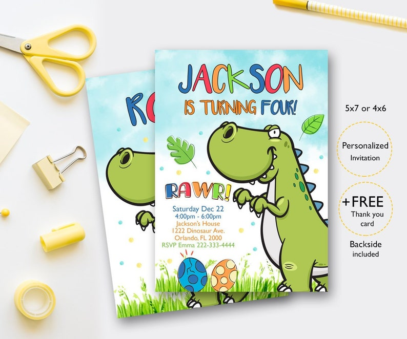 Dinosaur Birthday Invitation Invites