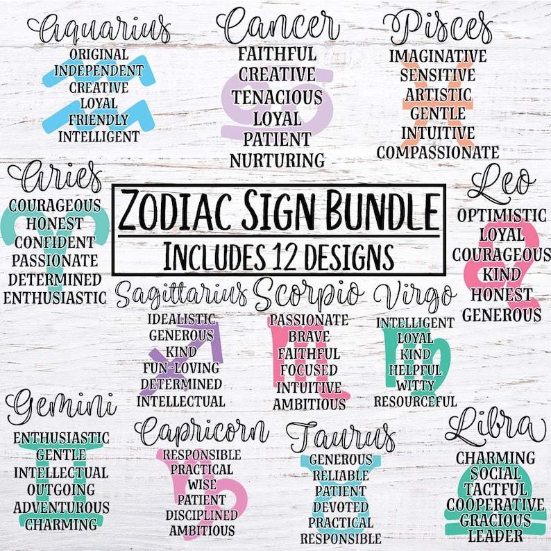 Zodiac Sign Bundle SVG, Zodiac, Astrology, Birthday, Star svg, dxf, eps,  png, cutting file, Cricut, Silhouette Cut file,