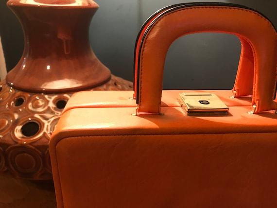 1960s Orange Vintage Vanity Cosmetics Case or Hand