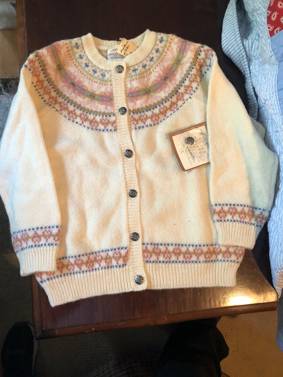 Susan Bristol vintage girls Fair Isle Cardigan