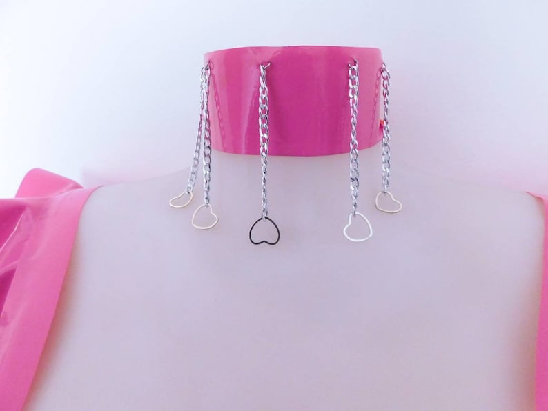 READY TO SHIP \u2015 /'/'Princess/'/' Latex Choker Collar with Full Silver Strass Chains