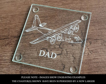 Glider Aircraft Square Glass Drinks Table Coaster Gift Boxed Pilot Instructor Flying Club Gift