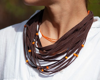Brown and Orange Multistrand Leather Necklace for Women