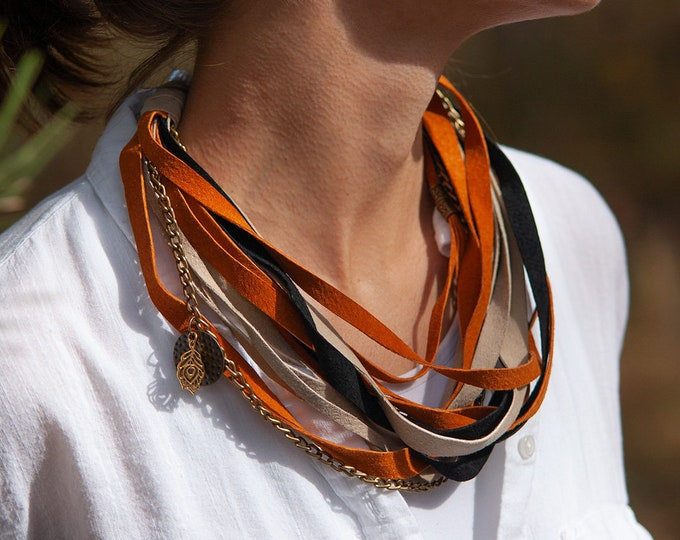 Beige Orange and Black Leather Necklace for Women