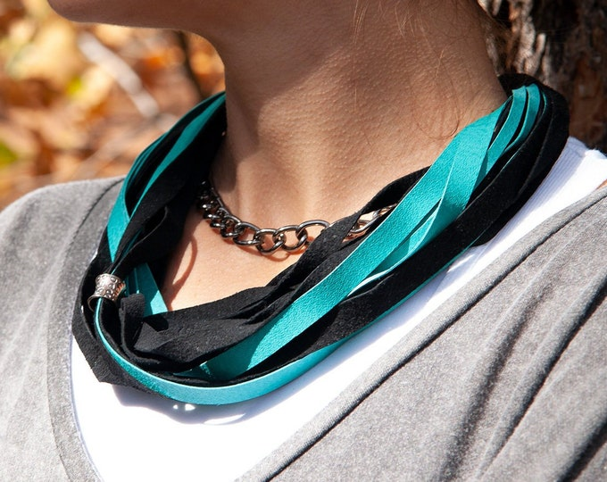 Black and Teal Leather Necklace