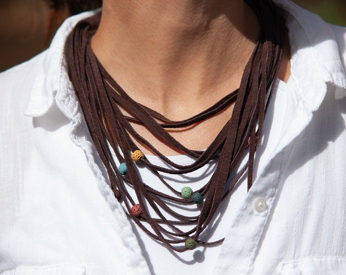 Brown Leather Necklace with Lava Stones