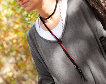 Black and Red Long Necklace with Chain