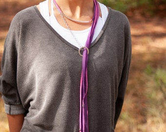 Purple Long Leather Necklace