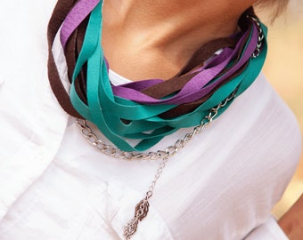 Teal, Purple and Brown Leather Scarf Necklace