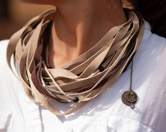 Beige Handmade Leather Necklace for Women