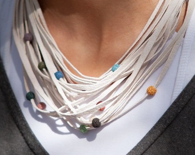 White Leather Necklace with Lava Stones