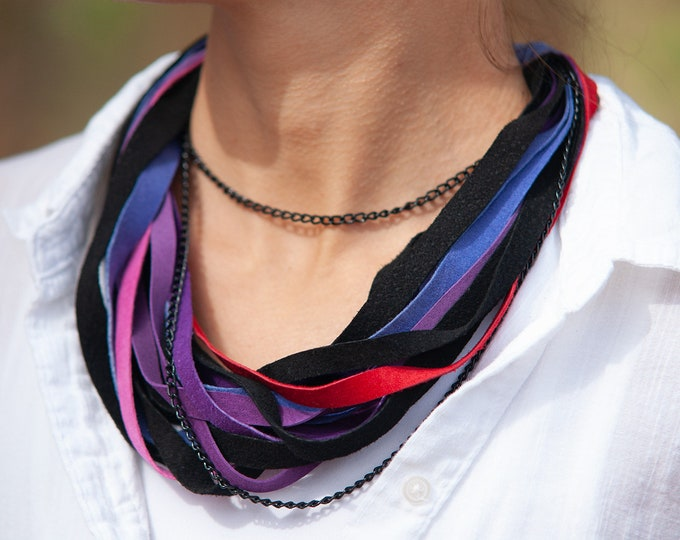 Black, Pink, Purple and Red Leather Scarf Necklace
