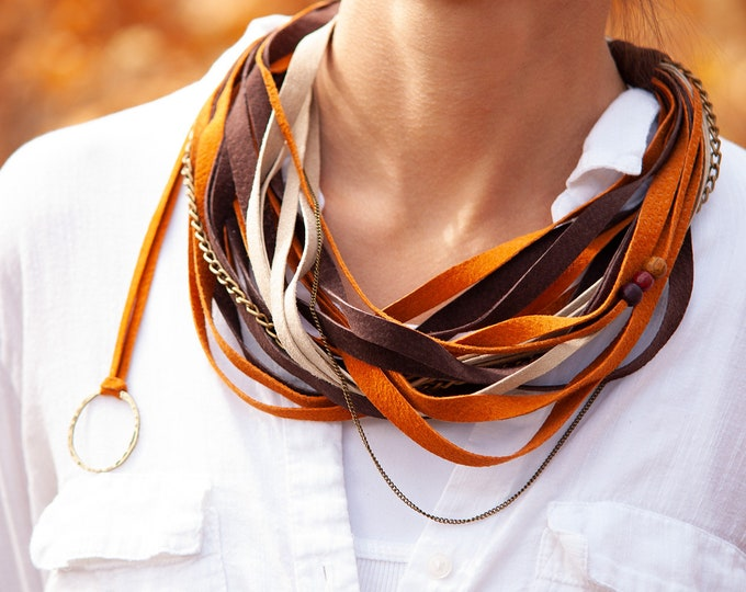 Orange and Brown Leather Necklace