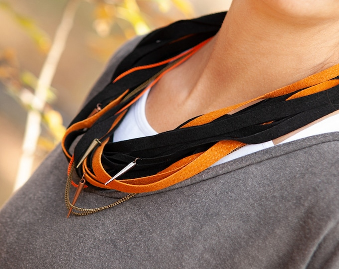 Black and Orange Spiked Leather Necklace