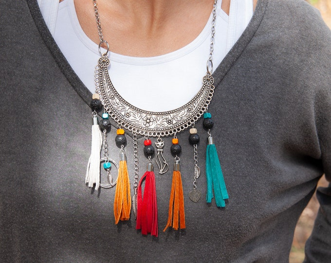 Leather and Lava Stones Necklace