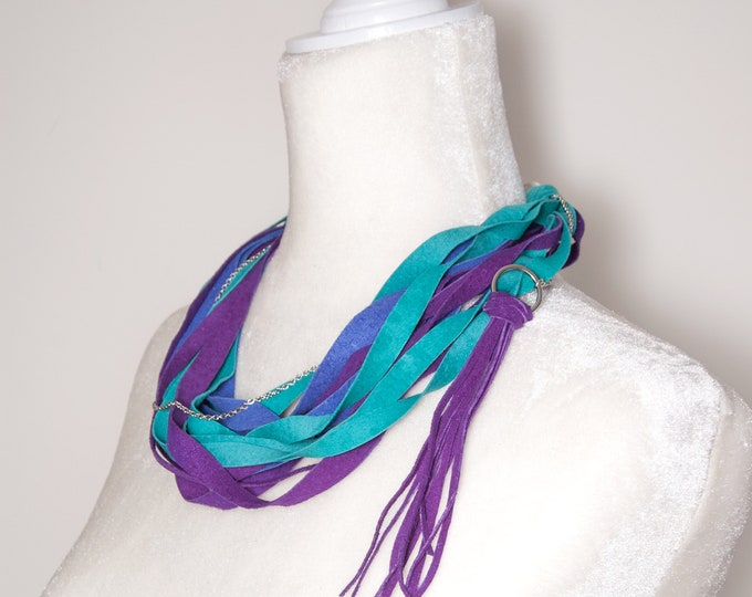 Purple, Teal and Blue Leather Scarf Necklace