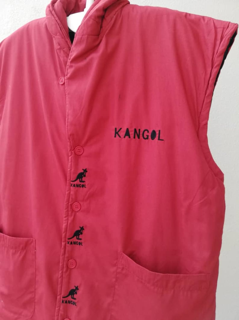 Vintage KANGOL Embroidered Logo Red Puffer Vest Medium Size