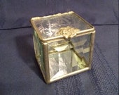 Vintage hand-made keepsake box beveled glass sides, etched glass hinged top.