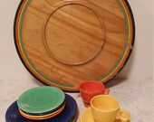 Extremely rare Fiesta-Wood lazy susan manufactured by the G.H. Specialty Co. in Milwaukee, Wisconsin, 1938.