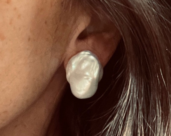 29mm Baroque Freshwater Pearl Studs, Exceptionally Lustrous and Interestingly Shaped