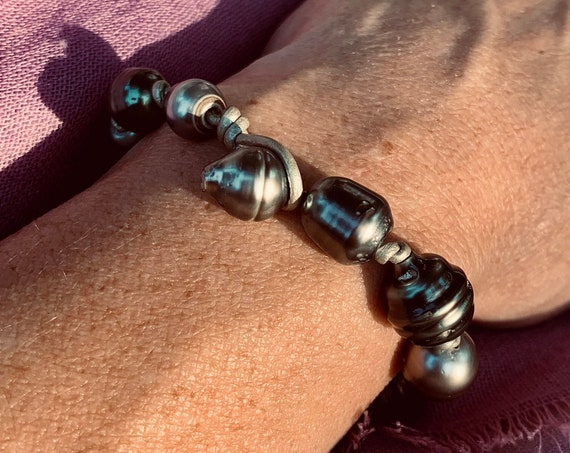 Tahitian Pearl and Metallic Knotted Leather Bracelet, Organic, Substantial, and Elegant