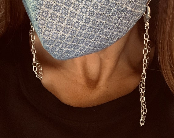 Face Mask Chain Made with Vintage Matte Silver Chain and Large Silver-Plated Lobster Clasps