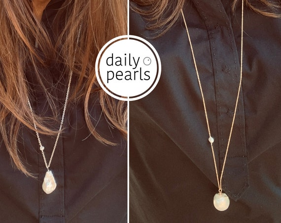 Large White or Pink Baroque Pearl on Mid-Length or Long Sterling Silver or 14k-Gold-Filled Chain, Simple, Striking and Elegant