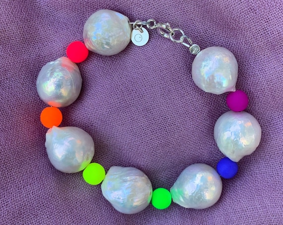 Massive Edison Pearl Bracelet with Neon Rainbow Glass Beads, A Statement Piece That's Impressive and Light-hearted