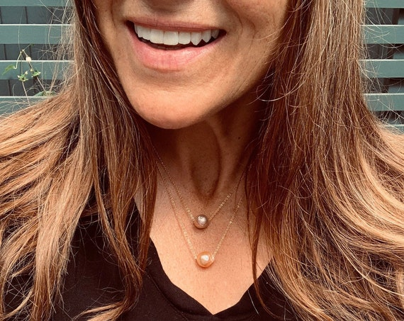 Medium Pinky-Bronze Baroque Freshwater Pearl and 14k-Gold-Filled Necklace, Simple, Unusual, and Available in Two Lengths