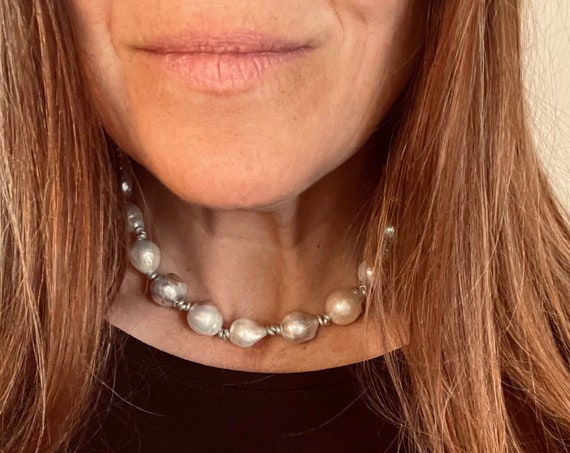 Gorgeously Chunky Choker Made with Freshwater Edison Baroque Pearls and Metallic Leather, Glowing and Casually Extravagant