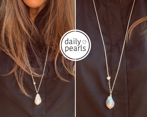 Large White or Grey Baroque Pearl on Mid-Length Sterling Silver Chain, Statement Piece Which Can Also be Layered