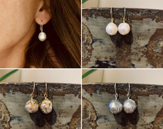 Edison Baroque Pearl Drop Earrings in 14k-Gold-Fill or Sterling Silver with White, Pink, Gold or Grey Pearls