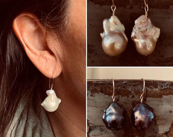 Large Baroque Pearl Drop Earrings in 14k-Gold-Fill or Sterling Silver with White, Pink or Peacock Pearls