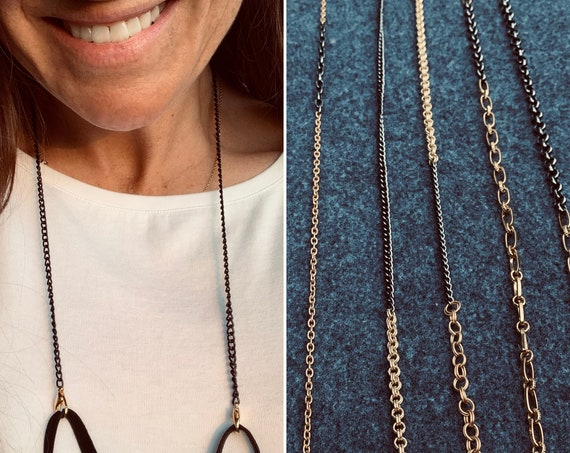 Edgy-Glam Face Mask Chains Made with Vintage Black and Gold Chains, Stylish and Convenient