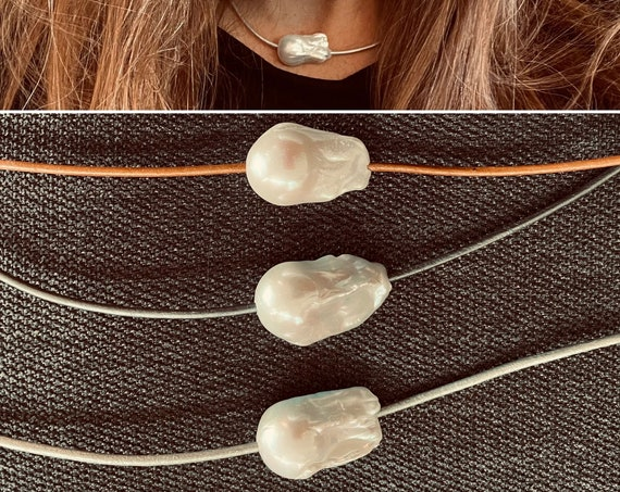 Jumbo Freshwater Baroque Pearl Choker on Metallic Leather with Sterling Silver Clasp, Exquisite and Unusual