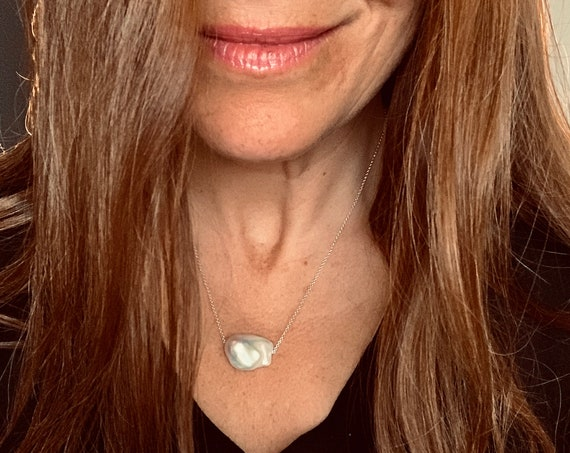 Huge White Baroque Freshwater Pearl and Sterling Silver Necklace, Classic and Modern, Impressive and Elegant