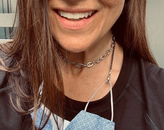 Face Mask Chain-Choker Made with Vintage Black and Silver Loop Chains and Large Silver Lobster Clasps