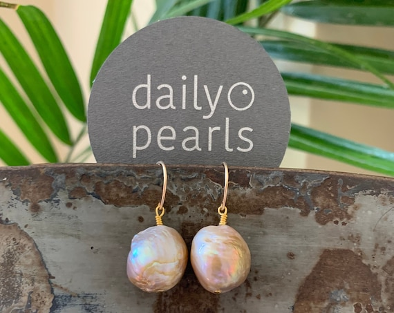 Large Baroque Pearl Dangle Drop Earrings in 14k-Gold-Fill, Naturally Pink-Purple-Bronze Edison Pearls, Glowing and Beautiful on the Ear