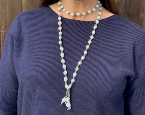 Metallic Grey Leather and Baroque Freshwater Pearl Necklace, Lovely Long or Looped