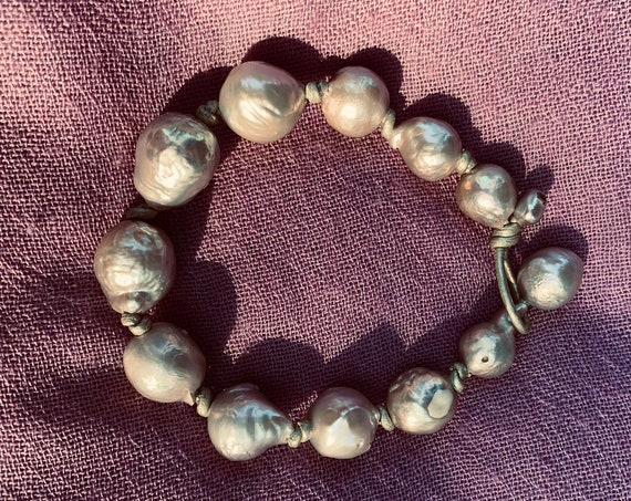 Silver-Grey Baroque Freshwater Pearl and Metallic Knotted Leather Bracelet, Sumptuous, Substantial, and Casually Sophisticated